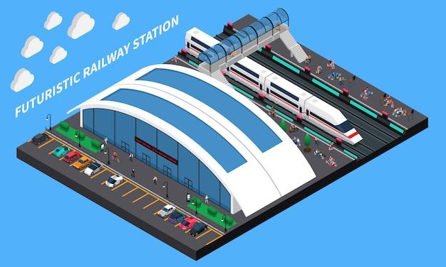 Estação de trem futurista composição isométrica