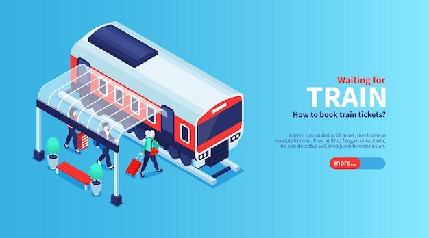Estação de trem isométrica com ilustração de passageiros de galpão de abrigo