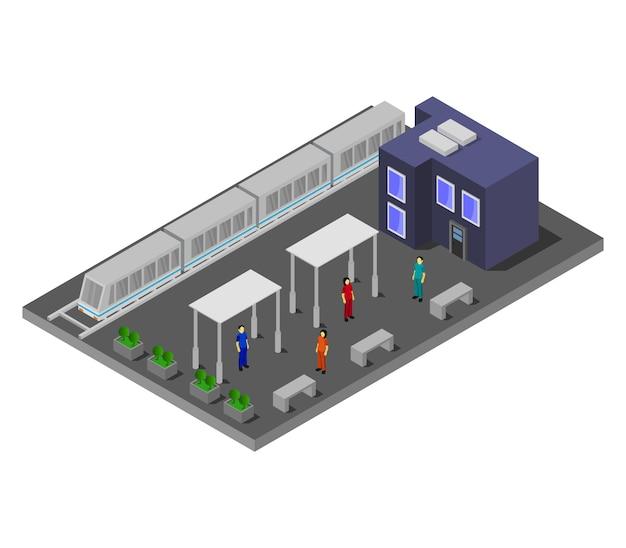 Estação de trem isométrica