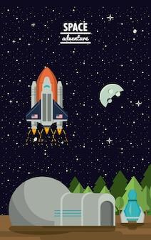 Estação espacial terra e aventura nave espacial