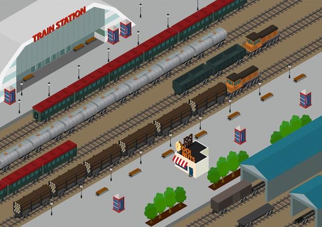 Estação ferroviária isométrica