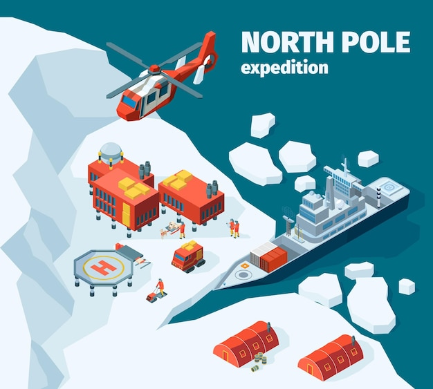 Estação meteorológica norte. polar norte pólo fundo explorador turismo antártica edifícios vetor isométrico. costa do mar de gelo com equipamento para ilustração de exploração