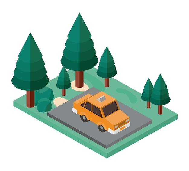 Estacionamento carro e árvores ícone isométrica de cena