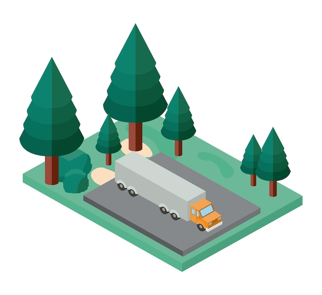Estacionamento de caminhão e ícone isométrica de cena de árvores