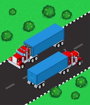 Estacionamento de caminhões isométricos na rua