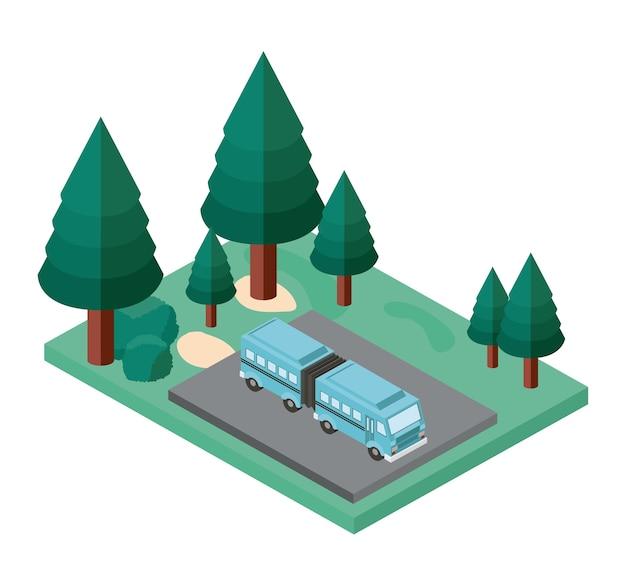 Estacionamento de ônibus e ícone isométrica de cena de árvores