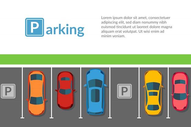 Estacionamento grátis com carro diferente. ilustração do veículo vista superior em estilo simples