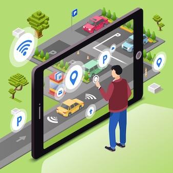 Estacionamento inteligente. homem, usuário, com, smartphone, toque tela, controle, carro, dirigindo, para, parque