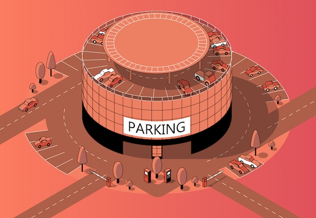 Estacionamento isométrico do multi-andar 3d com território