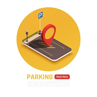 Estacionamento rápido e fácil com banner de aplicativo móvel