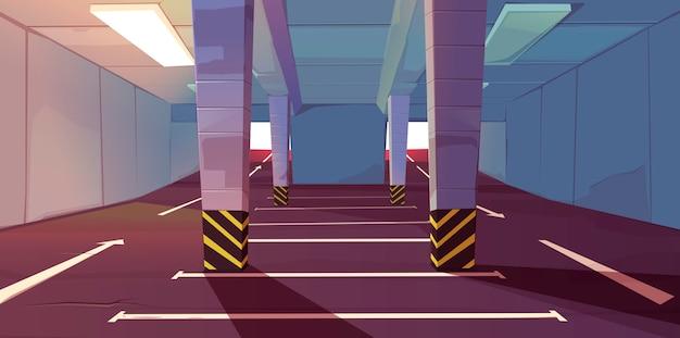 Estacionamento subterrâneo com marcação de vagas