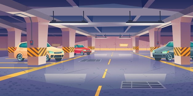 Estacionamento subterrâneo, garagem com vagas