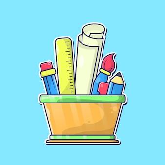 Estacionário definido na ilustração vetorial de balde