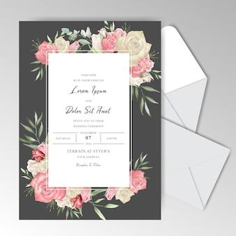 Estacionário romântico do casamento da aguarela com rosas bonitas