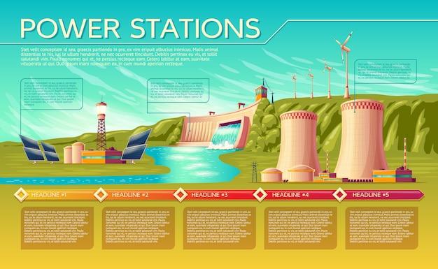 Estações de energia dos desenhos animados alternativa, modelo de infográficos tradicional renovável