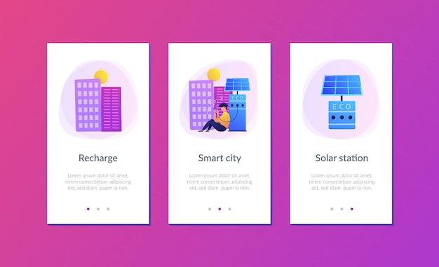 Estações de recarga ecológica no modelo de interface de aplicativo de cidade inteligente.