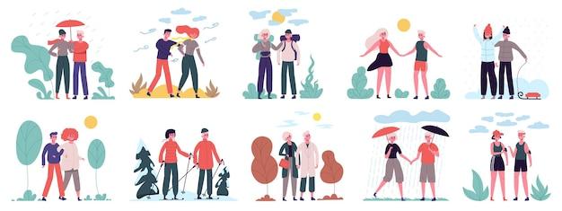 Estações diferentes. casais caminham em vários climas verão calor inverno neve e chuva de outono definido