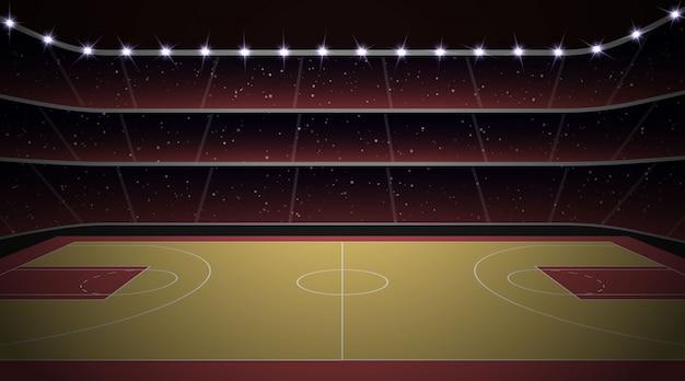 Estádio basquetebol, com, corte