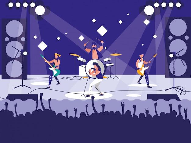 Estádio com concerto de rock