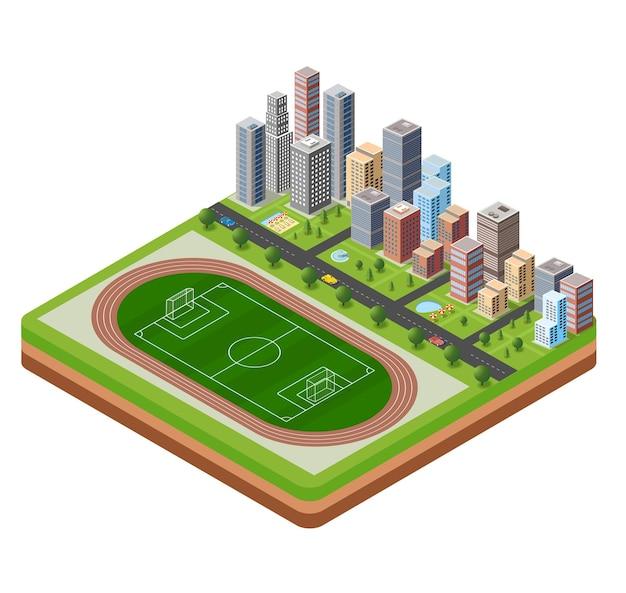 Estádio da cidade com uma rodovia com vista isométrica de carros e árvores