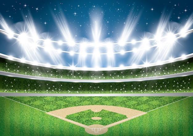 Estádio de beisebol com luzes de néon. arena.