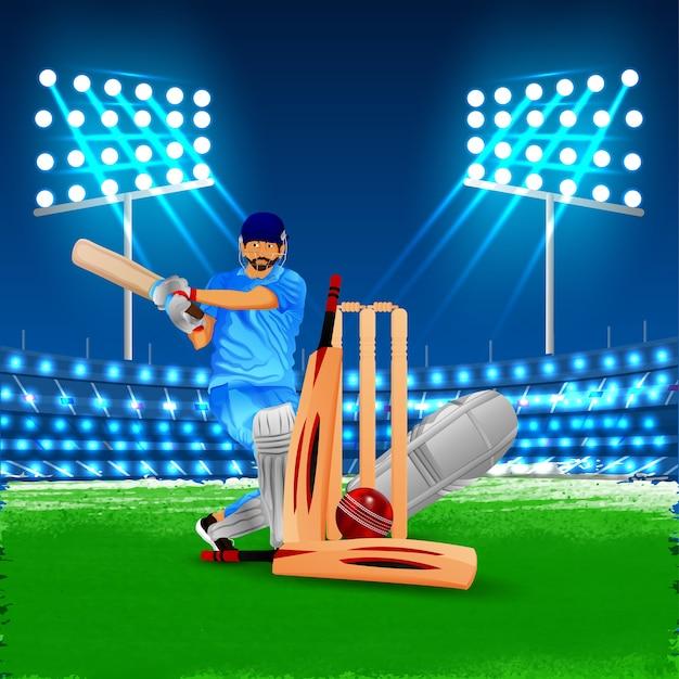 Estádio de esportes de críquete com bastão e bola no solo.