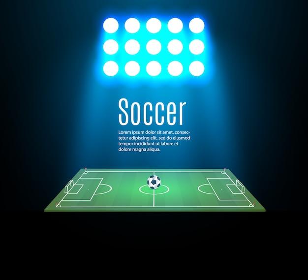 Estádio de futebol com bola no campo de futebol e holofote