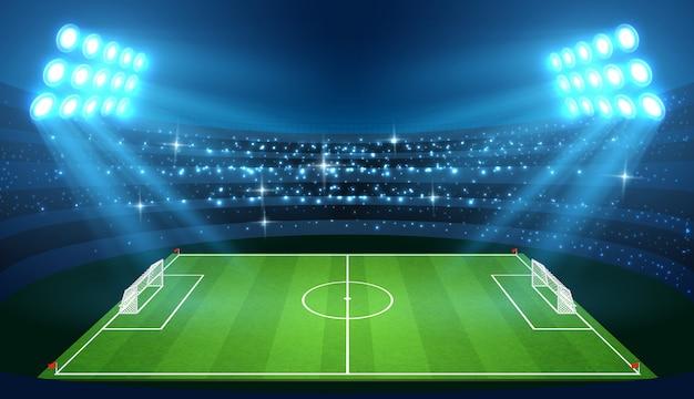 Estádio de futebol com campo de futebol vazio e ilustração vetorial de holofotes
