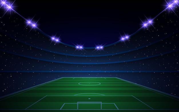 Estádio de futebol com luzes brilhantes