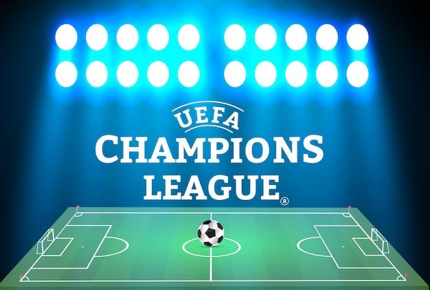Estádio de futebol com uma bola em um campo de futebol e holofote com luz cintilante abstrata