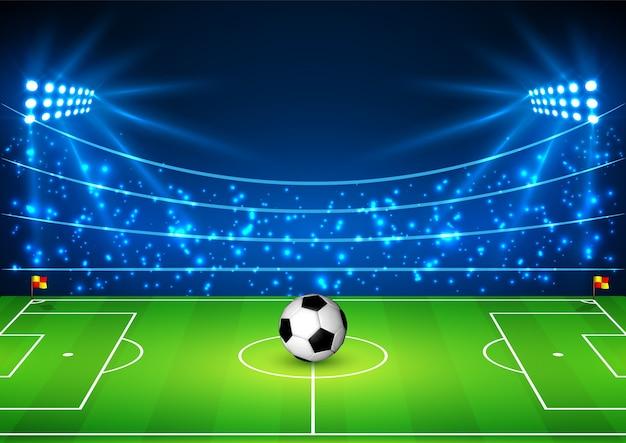 Estádio de futebol com uma bola.