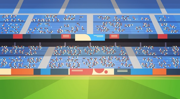 Estádio de futebol vazio campo arena cheia tribunas antes de iniciar partida plana horizontal