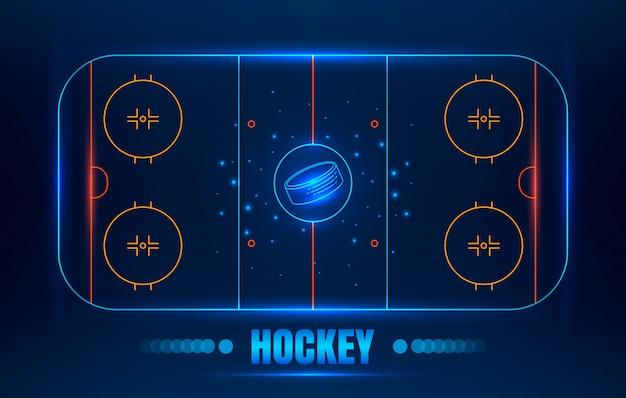 Estádio de hóquei no gelo. arena de hóquei do vetor linha ilustração com disco.