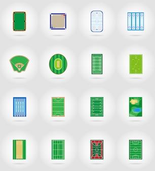 Estádio de recreio tribunal e campo para ilustração em vetor ícones plana jogos esportivos