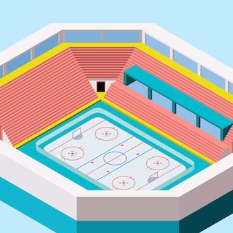 Estádio isométrico ou arena de construção para hóquei