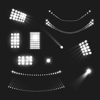 Estádio luzes realista preto branco conjunto isolado
