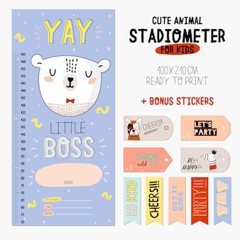 Estadiômetro super fofo instalado. ilustração de animal engraçada. adesivos e blocos de notas. coleção infantil escandinava para decoração de berçários e paredes de bebês.