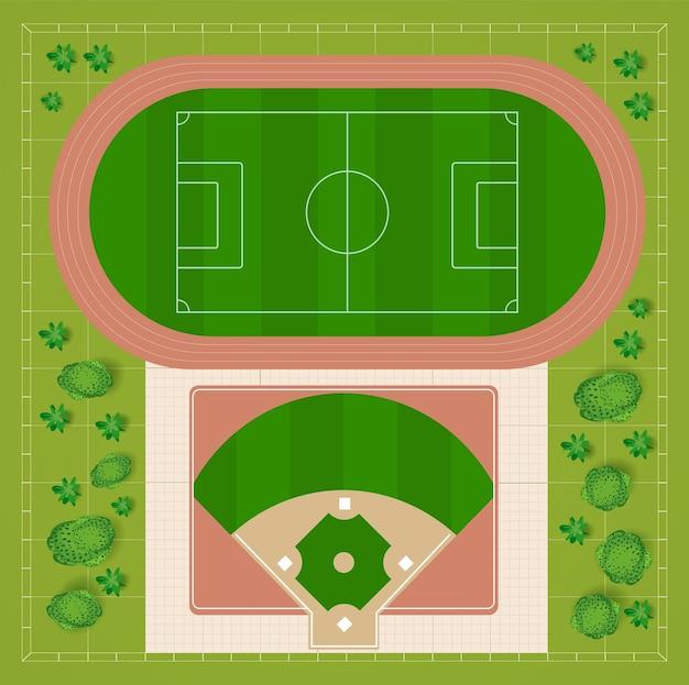 Estádios de futebol e beisebol uma vista superior