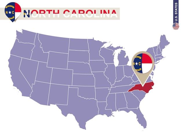 Estado da carolina do norte no mapa dos eua. bandeira e mapa da carolina do norte. estados dos eua.