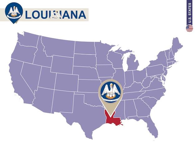 Estado da louisiana no mapa dos eua. bandeira e mapa da louisiana. estados dos eua.