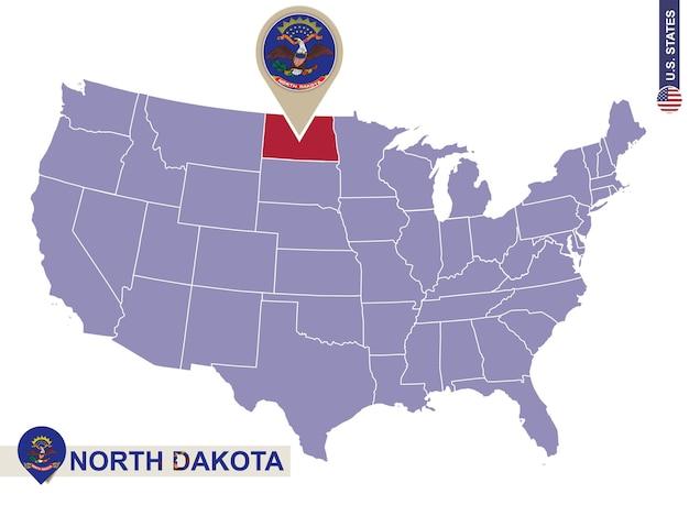 Estado de dakota do norte no mapa dos eua. bandeira e mapa de dakota do norte. estados dos eua.