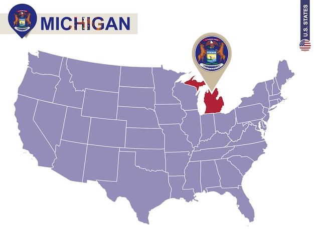Estado de michigan no mapa dos eua. bandeira e mapa de michigan. estados dos eua.