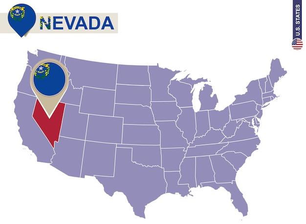 Estado de nevada no mapa dos eua. bandeira e mapa de nevada. estados dos eua.
