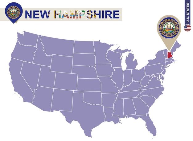 Estado de new hampshire no mapa dos eua. bandeira e mapa de new hampshire. estados dos eua.