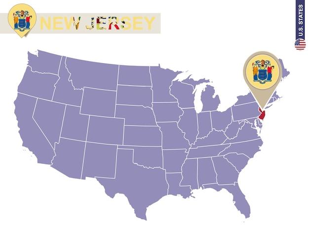 Estado de nova jersey no mapa dos eua. bandeira e mapa de nova jersey. estados dos eua.