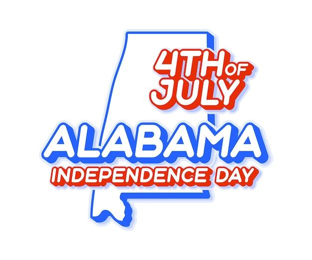 Estado do alabama, 4 de julho, dia da independência com mapa e formato 3d da cor nacional dos eua dos eua