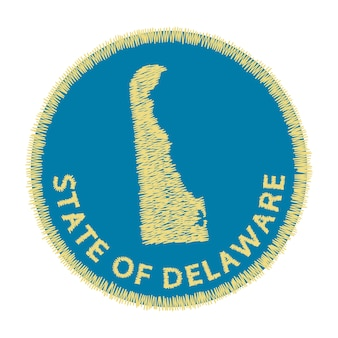 Estado do bordado do mapa de delaware