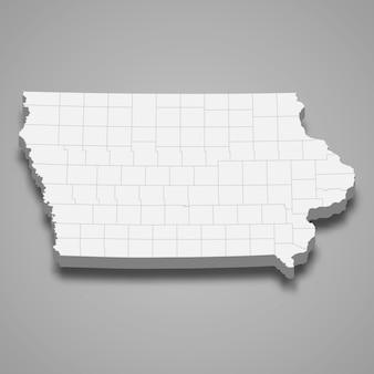 Estado do mapa 3d dos estados unidos