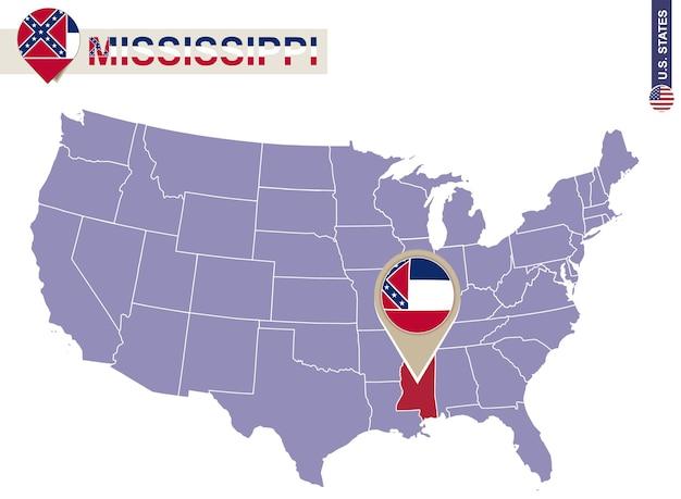 Estado do mississippi no mapa dos eua. bandeira e mapa do mississippi. estados dos eua.