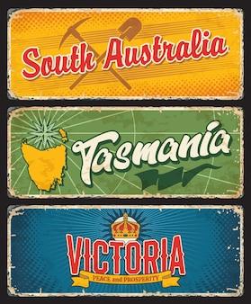 Estados australianos do sul da austrália, tasmânia e victoria